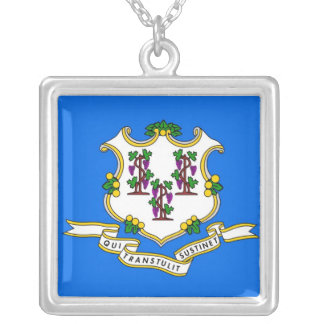 Elegant Necklace with Flag of the Connecticut