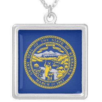 Elegant Necklace with Flag of the Nebraska