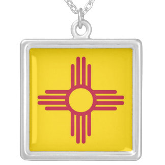 Elegant Necklace with Flag of the New Mexico