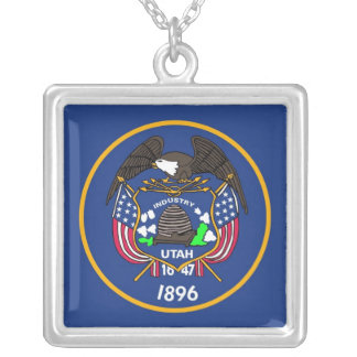 Elegant Necklace with Flag of the Utah