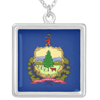 Elegant Necklace with Flag of the Vermont