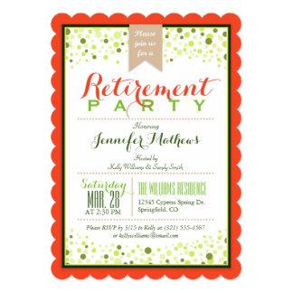 Elegant Neon Green, Papaya Orange Retirement Party Card