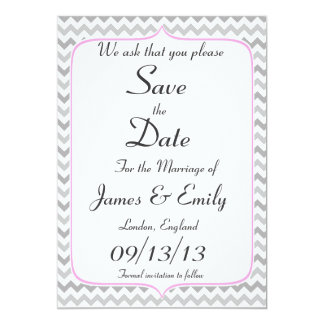 Elegant Neon Pink & Gray Chevron Save The Date Card