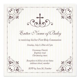 Elegant neutral christening baptism invitation
