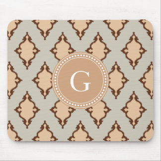 Elegant neutral ikat tribal pattern monogram mouse pad