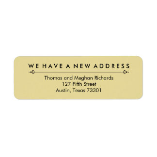 Elegant New Address Announcement in Black and Gold Label