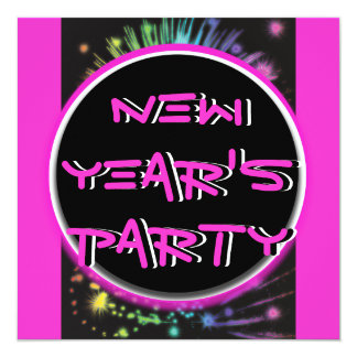 Elegant New Year holiday party hot pink black Card