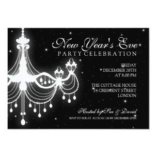 Elegant  New Years Eve Chandelier Black 5x7 Paper Invitation Card