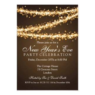 Elegant  New Years Eve Gold String Lights Announcement