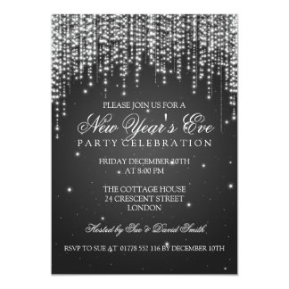 Elegant  New Years Eve Night Dazzle Black Card