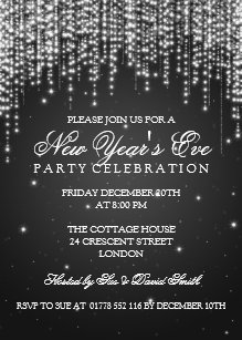 Elegant New Years Eve Night Dazzle Black Invitation