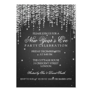 Elegant  New Years Eve Night Dazzle Black Custom Invites