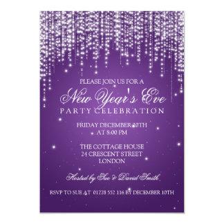 Elegant  New Years Eve Night Dazzle Purple 5x7 Paper Invitation Card