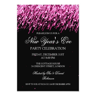 Elegant New Years Eve Party Falling Pink Stars 5x7 Paper Invitation Card