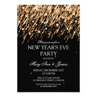 Elegant New Years Eve Party Gold Stars & Sparkles 5x7 Paper Invitation Card