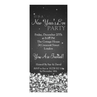 Elegant New Years Eve Party Night Sparkle Black 4x9.25 Paper Invitation Card