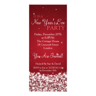 Elegant New Years Eve Party Night Sparkle Red Custom Invitations
