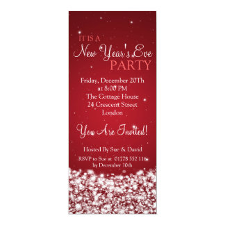 Elegant New Years Eve Party Night Sparkle Red 4x9.25 Paper Invitation Card