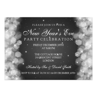 Elegant  New Years Eve Party Sparkle Black Announcement