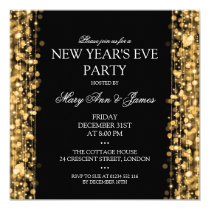 Elegant New Years Eve Party Sparkles Gold Card