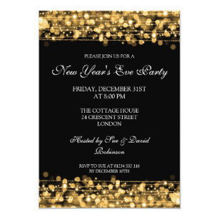 New years eve party invitations announcements zazzle elegant new years eve party sparkles gold invitation stopboris Images