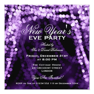 Elegant New Years Eve Party String Lights Purple 5.25x5.25 Square Paper Invitation Card