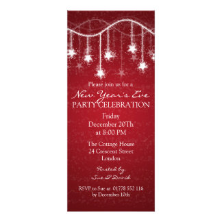 Elegant  New Years Eve Shimmering Stars Red Custom Announcements
