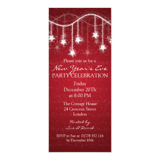Elegant  New Years Eve Shimmering Stars Red 4x9.25 Paper Invitation Card