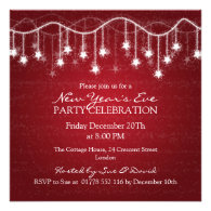 Elegant  New Years Eve Shimmering Stars Red Personalized Invite