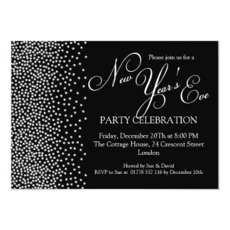 Elegant  New Years Eve Sparkle Black Card