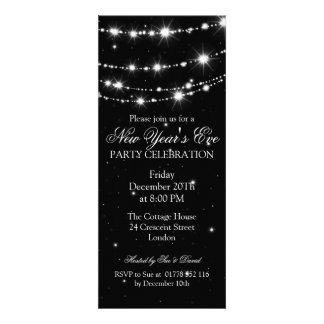 Elegant  New Years Eve Sparkling Chain Black Invitations