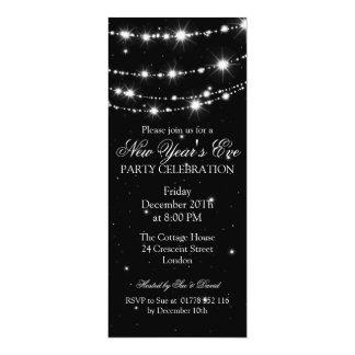 Elegant  New Years Eve Sparkling Chain Black 4x9.25 Paper Invitation Card
