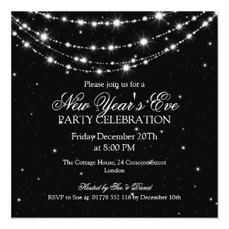 Elegant  New Years Eve Sparkling Chain Black Personalized Invitations