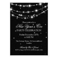 Elegant New Years Eve Sparkling Chain Black Invites