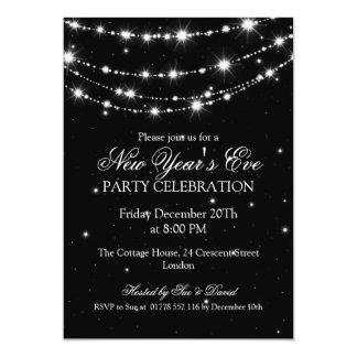Elegant  New Years Eve Sparkling Chain Black 5x7 Paper Invitation Card