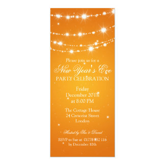 Elegant  New Years Eve Sparkling Chain Orange Card