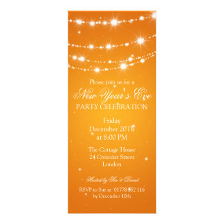 Elegant  New Years Eve Sparkling Chain Orange Personalized Announcement