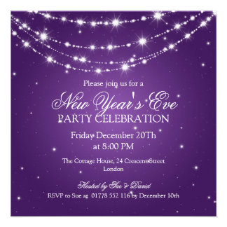 Elegant  New Years Eve Sparkling Chain Purple Personalized Invitation