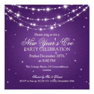 Elegant  New Years Eve Sparkling Chain Purple 5.25x5.25 Square Paper Invitation Card