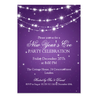 Elegant  New Years Eve Sparkling Chain Purple 5x7 Paper Invitation Card