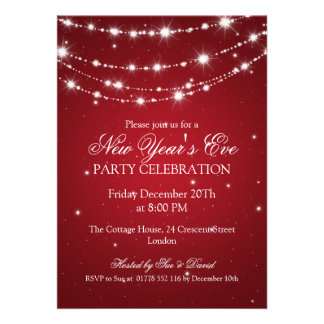 Elegant  New Years Eve Sparkling Chain Red Cards
