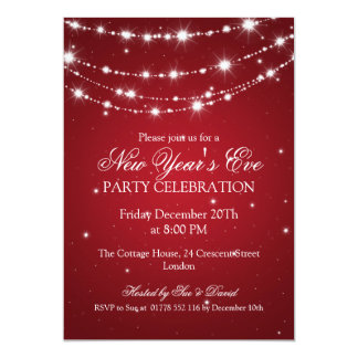 Elegant  New Years Eve Sparkling Chain Red 5x7 Paper Invitation Card