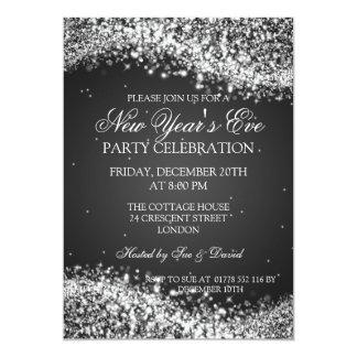 Elegant New Years Eve Sparkling Wave Black 5x7 Paper Invitation Card