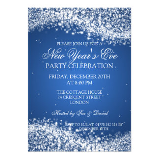 Elegant New Years Eve Sparkling Wave Blue Invite