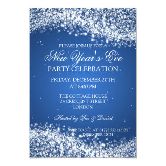 Elegant New Years Eve Sparkling Wave Blue 5x7 Paper Invitation Card