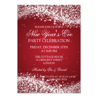 Elegant New Years Eve Sparkling Wave Red Personalized Announcement