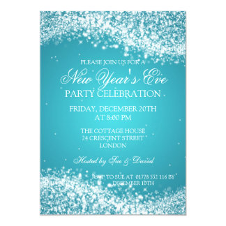 Elegant New Years Eve Sparkling Wave Turquoise 5x7 Paper Invitation Card