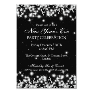Elegant  New Years Eve Winter Sparkle Black Personalized Invite