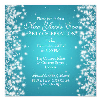 Elegant New Years Eve Winter Sparkle Blue Personalized Invite