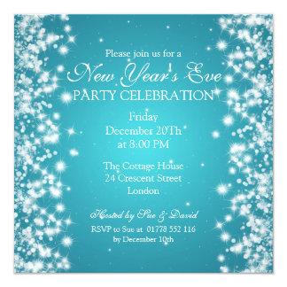 Elegant New Years Eve Winter Sparkle Blue 5.25x5.25 Square Paper Invitation Card